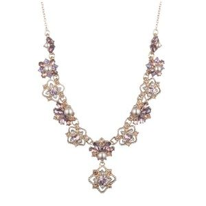 Gold-tone Faux Pearl, Purple Pink Crystal Necklace